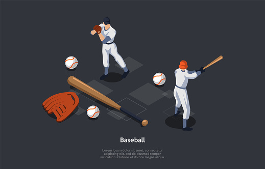 National Sport Of USA, Baseball Concept. Pitcher, Player On The Fielding Team Throwing A Ball Which A Player On The Oposing Batting Team Trying To Hit With A Bat. 3d Isometric Vector Illustration