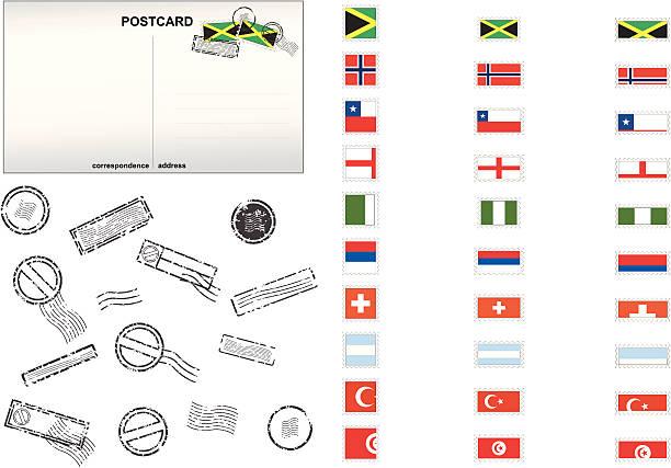 National Stamps Series vector art illustration