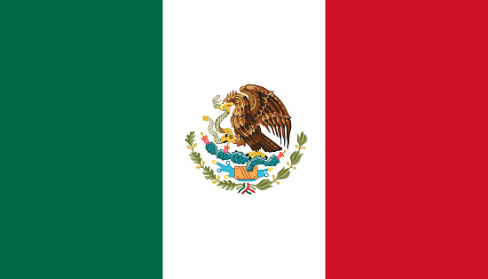 National state flag of Mexico. Vector illustration