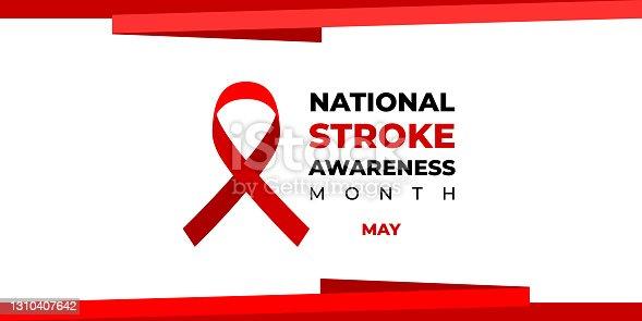 istock National stroke awareness month. Vector web banner for social media, poster, card, flyer. Text National stroke awareness month, May and red ribbon on white background. 1310407642