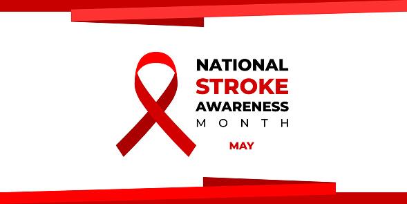 National stroke awareness month. Vector web banner for social media, poster, card, flyer. Text National stroke awareness month, May and red ribbon on white background.