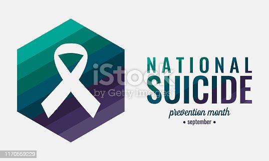 National suicide prevention month card or background. vector illustration.