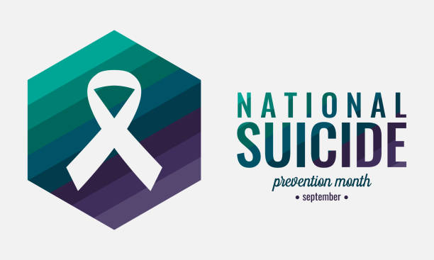 National suicide prevention month National suicide prevention month card or background. vector illustration. suicide stock illustrations