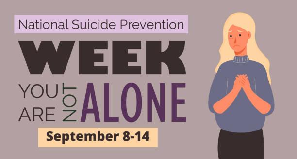 stockillustraties, clipart, cartoons en iconen met nationale zelfmoordpreventie week in de vs. evenement wordt gevierd in september 8-14. - zelfmoord