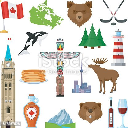 National Symbols Of Canada Set Stock Vector Art More Images Of
