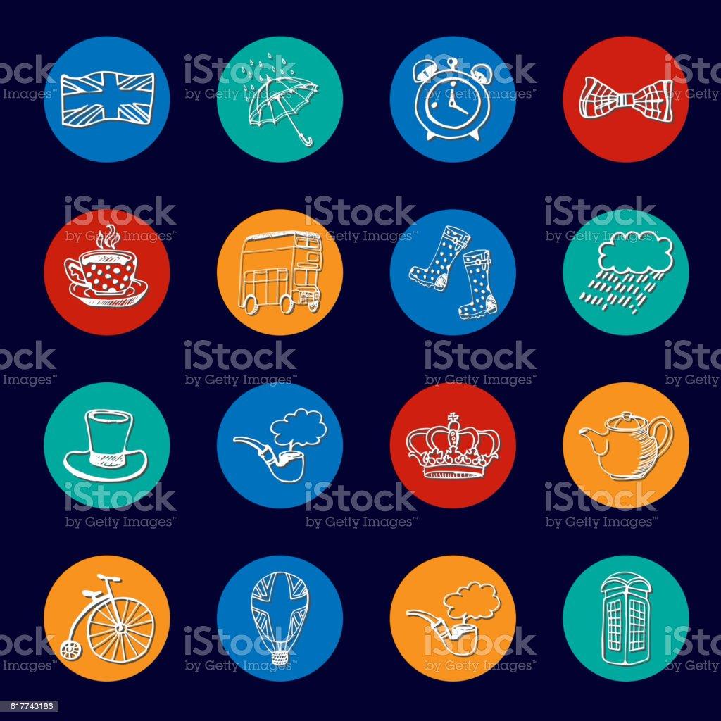 National Symbols Of England Vector Icon Collection Stock Vektor Art