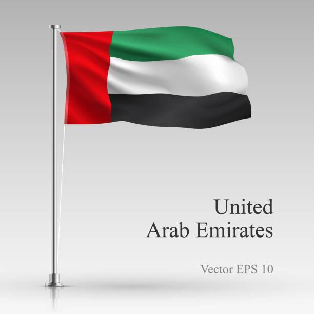 national united arab emirates flag isolated on gray background. - uae flag stock illustrations
