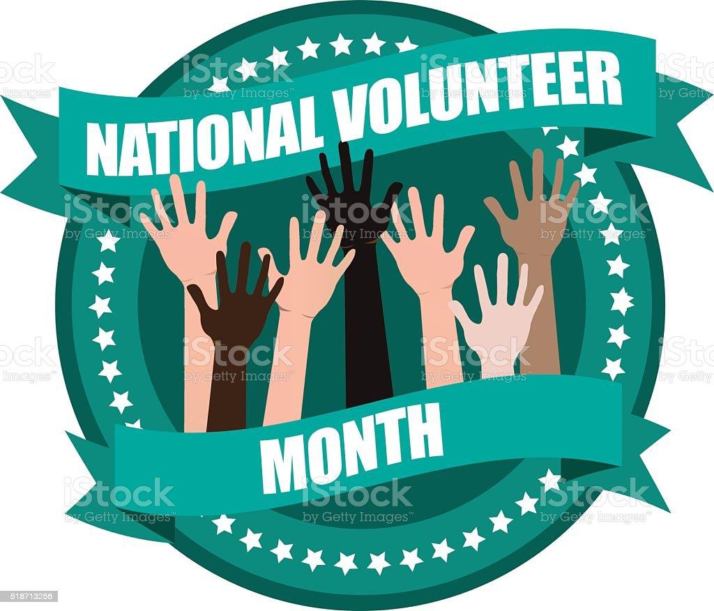 National volunteer month design vector art illustration