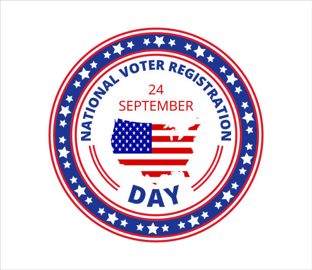 national voter registration day in usa in september 24. slogan calling to take part in elections. flat vector with flag - ważne miejsce w świadomości narodowej stock illustrations