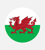 istock National Wales flag, official colors and proportion correctly. National Wales flag. Vector illustration. EPS10. Wales flag vector icon, simple, flat design for web or mobile app. 1312816906