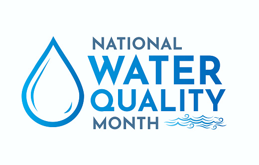 National Water Quality Month card, August. Vector