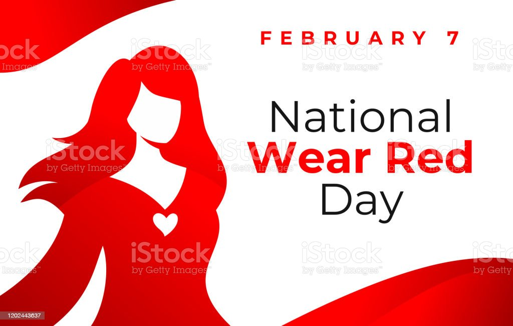 National wear red day vector banner. American Heart Association bring attention to heart disease. Beautiful woman wearing red dress. National wear red day February 7 concept. - arte vettoriale royalty-free di Abbigliamento