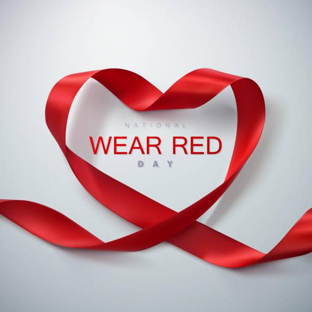 National wear red day National wear red day. Vector illustration of ribbon heart. day stock illustrations