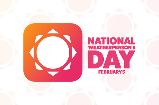 National Weatherperson's Day. February 5. Holiday concept. Template for background, banner, card, poster with text inscription. Vector EPS10 illustration.