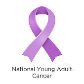 National Young Adult Cancer awareness week - first week in April. Lavender or violet color ribbon Cancer Awareness Products. Vector illustration. White isolated.