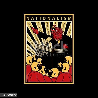 istock Nationalism Propaganda Style Poster Illustration 1217996570