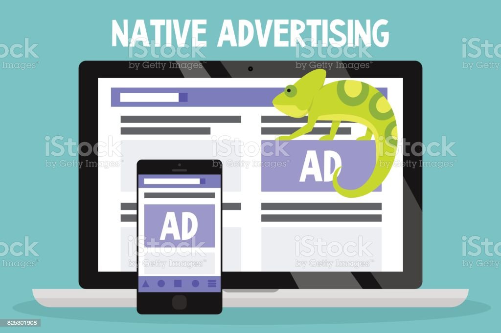 Native advertising conceptual illustration. Chameleon as a metaphor of native ads / flat editable vector illustration, clip art vector art illustration