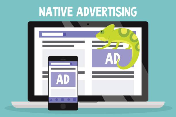 native advertising conceptual illustration. chameleon as a metaphor of native ads / flat editable vector illustration, clip art - tablica reklamowa stock illustrations