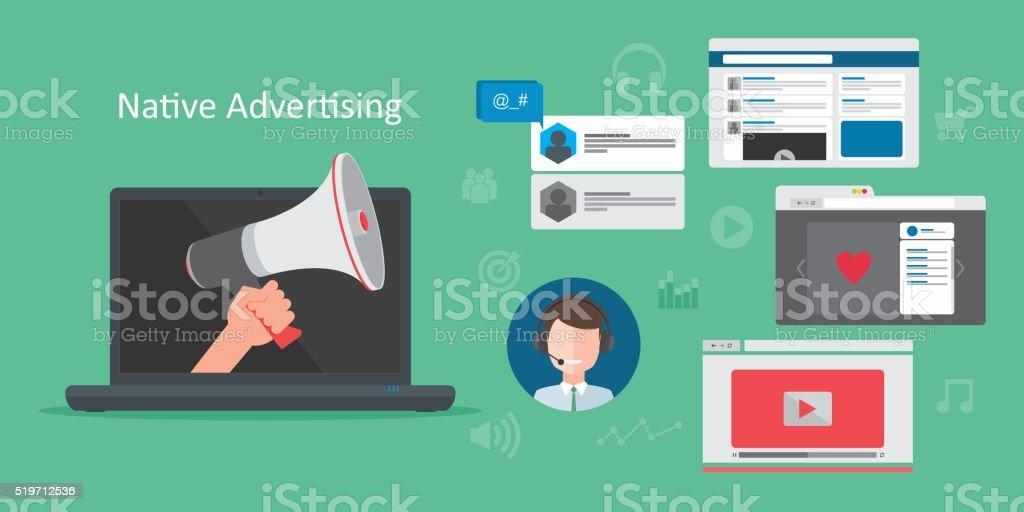 native advertsing concept vector art illustration