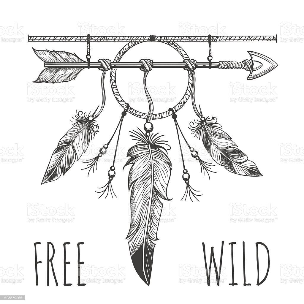 Native american accessory with arrow – Vektorgrafik