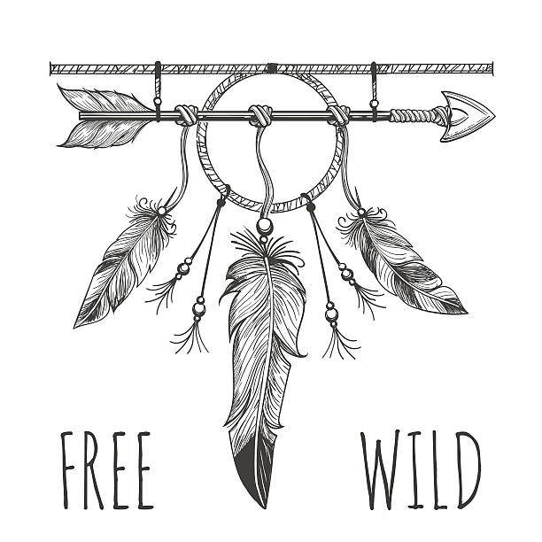 Native american accessory with arrow Native american accessory with arrow feathers and lettering free wild isolated on white. Vector illustration dreamcatcher stock illustrations