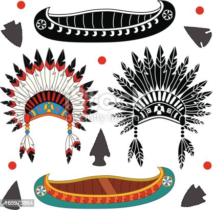 Vector illustrations of native American canoes and headdresses in black and white and color.