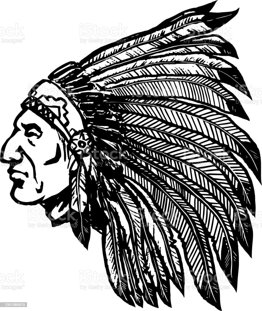 Native american chief isolated on white background. Design element for  label, sign, poster, menu.