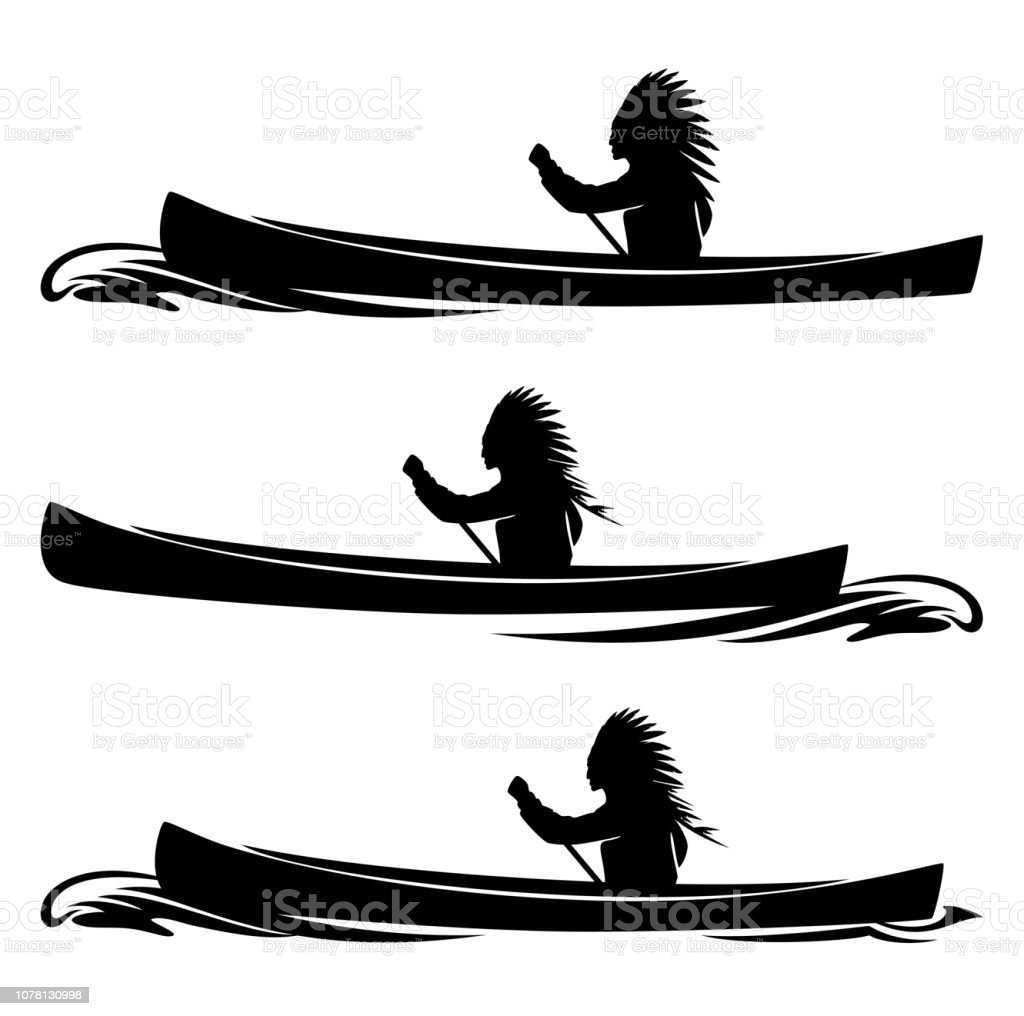 tribal chief rowing in traditional canoe - native american, boat and...