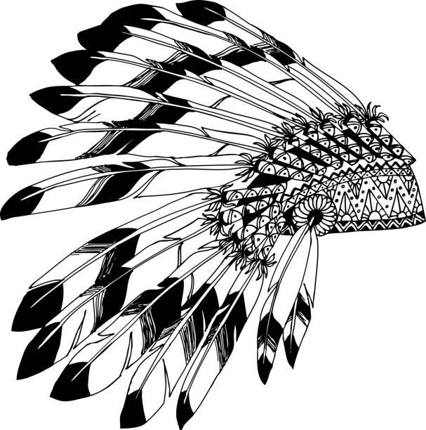 indianischer häuptling kopfschmuck mit federn. indische karte in einer skizze-stil. - kopfschmuck stock-grafiken, -clipart, -cartoons und -symbole