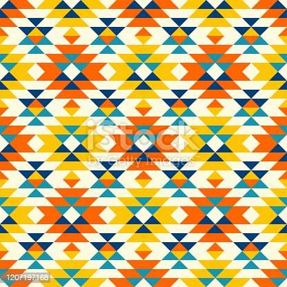 istock Native American colorful diamonds navajo pattern 1207197168
