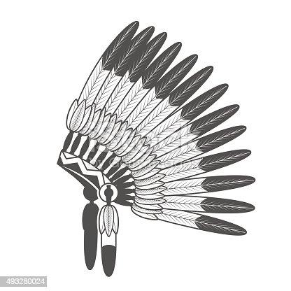 Native American Feathered Headdress. Vector Indian war bonnet