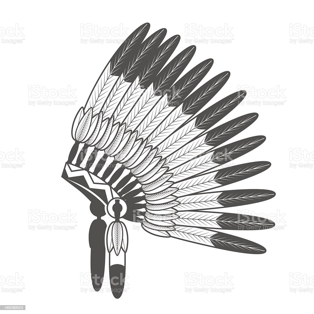 Native American Feathered War Bonnet vector art illustration