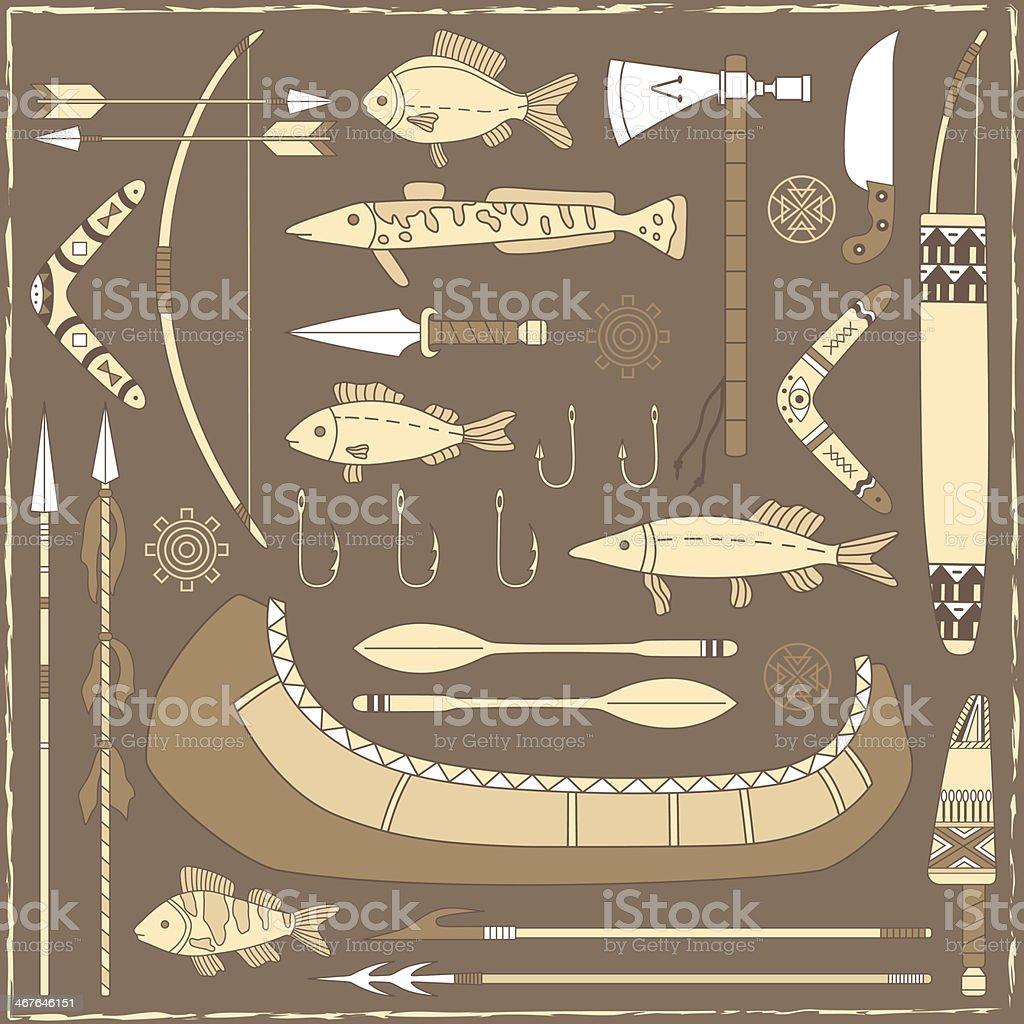 Native American fishing design elements – illustration vector art illustration