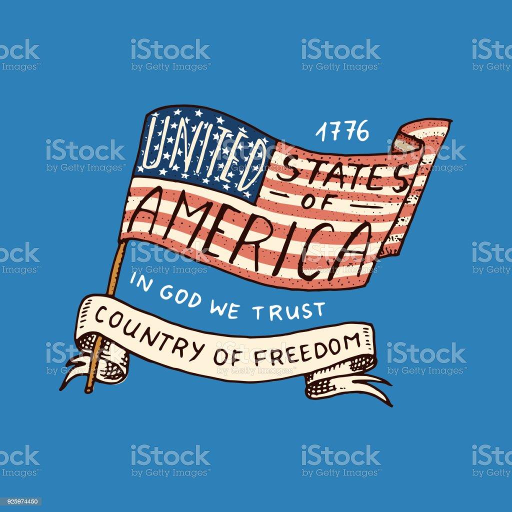 Ilustración de Bandera Nativa Americana Viejas Etiquetas O Insignias ...