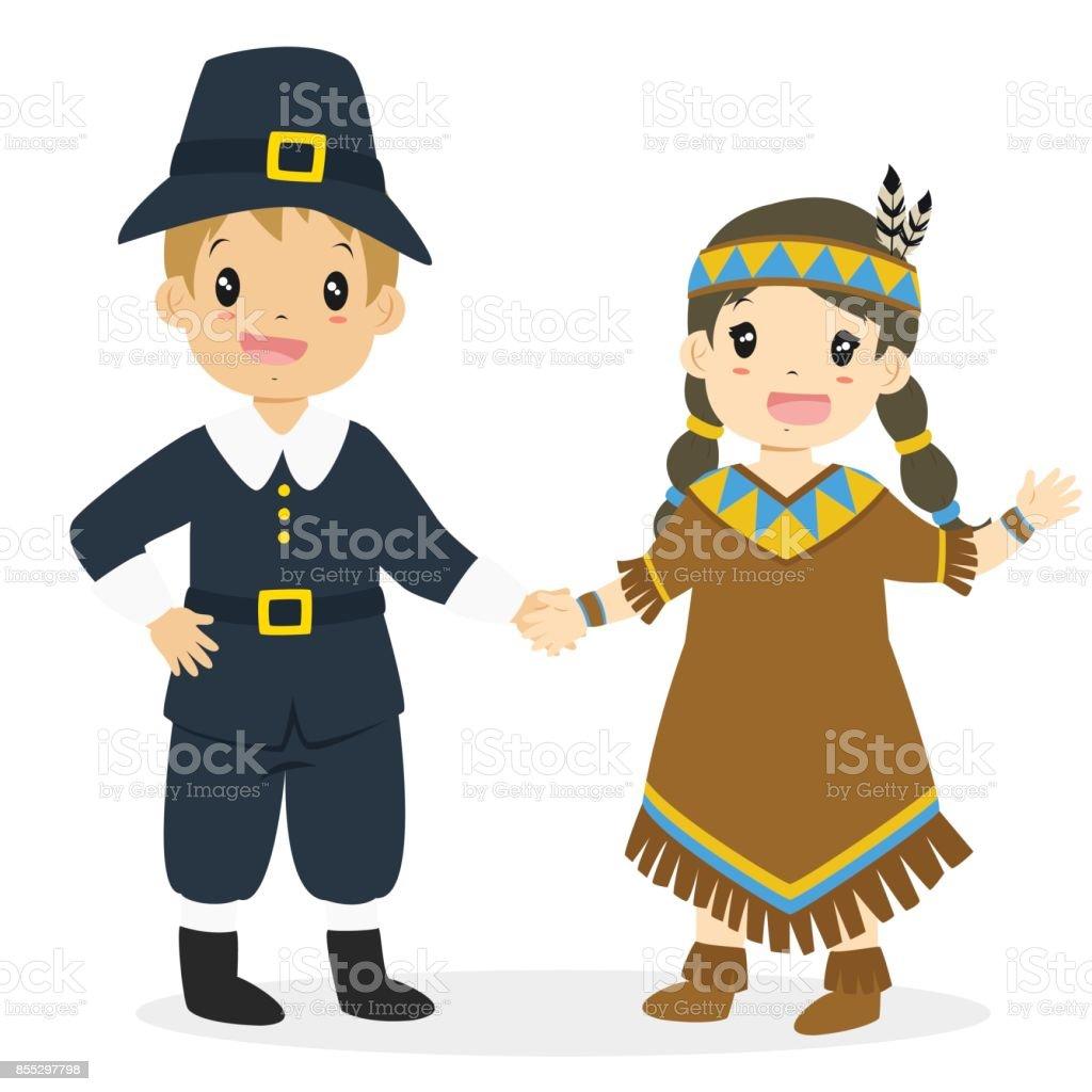 Native American Girl and Pilgrim Boy Cartoon Vector