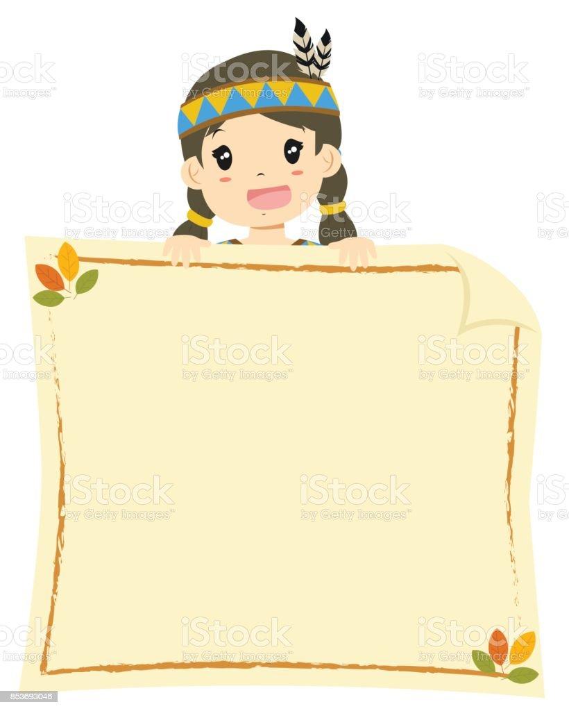 Native American Girl Holding An Empty Banner Cartoon Vector Stock