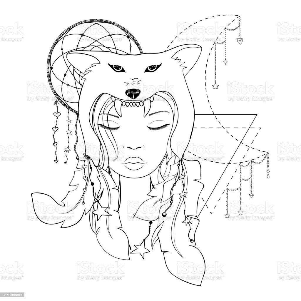 Ilustración de Chica Nativa Americana Con Tocado De Lobo Lineart ...