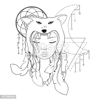 Native American Girl With Wolf Headdress Lineart Hand