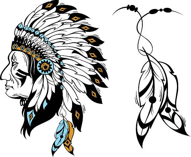 indianischen kopf und federn - kopfschmuck stock-grafiken, -clipart, -cartoons und -symbole