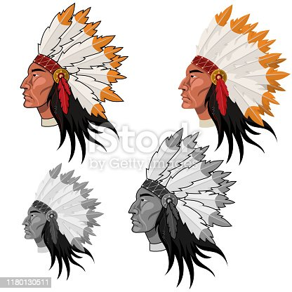 Native American Head in color and grayscale vector image