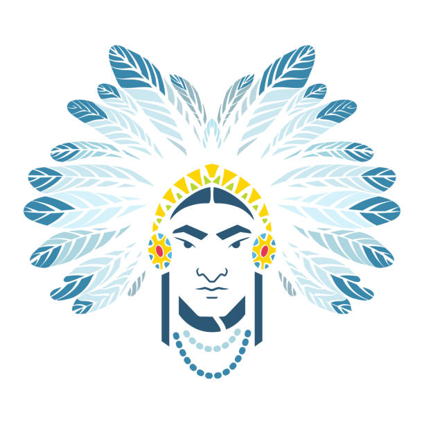 Cabeça nativa americana com crina, cocar de penas. - ilustração de arte em vetor
