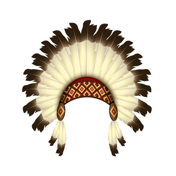 indianer-stirnband mit federn-isolierte vektorillustration auf weißem hintergrund-indische kopfbedeckung - kopfschmuck stock-grafiken, -clipart, -cartoons und -symbole