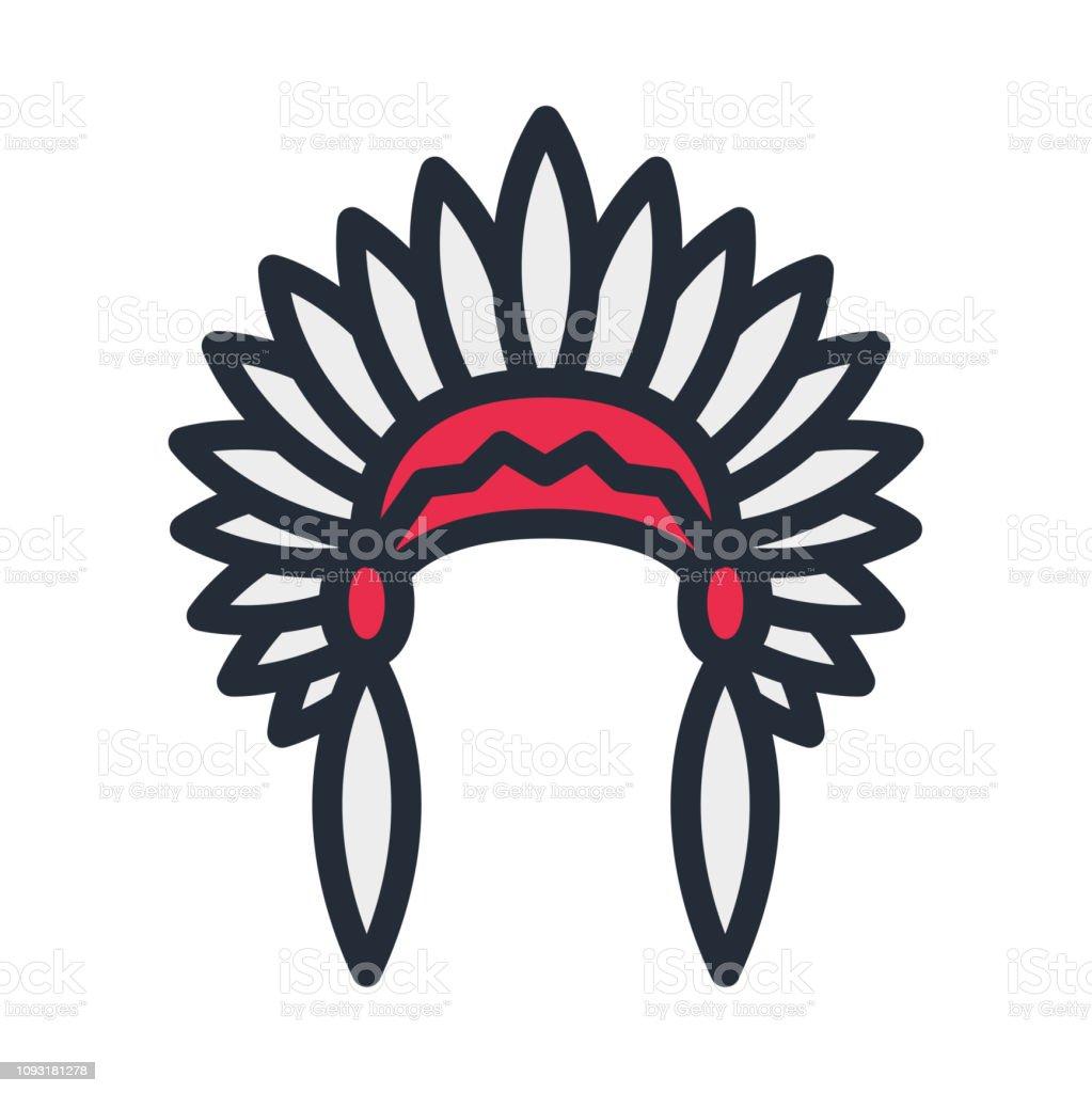 Vetores De Cocar Indigena Apache Indiano Chapeu Liso Cor Linha