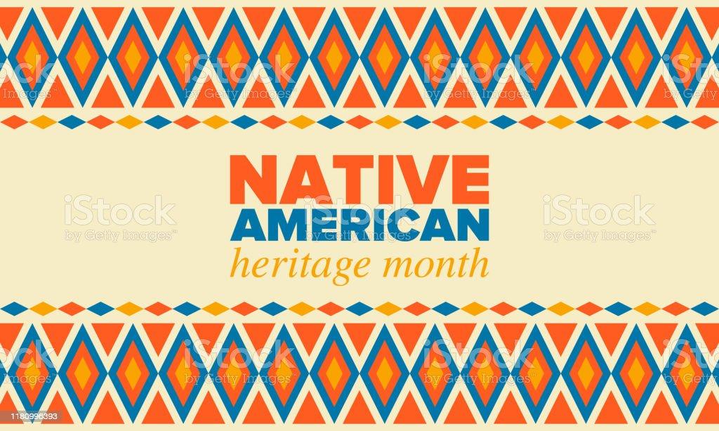 Native American Heritage maand in november. Amerikaanse Indiaanse cultuur. Vier jaar in Verenigde Staten. Traditie patroon. Poster, kaart, banner en achtergrond. Vector sieraad, illustratie - Royalty-free Abstract vectorkunst