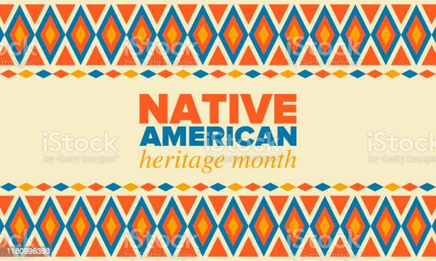 Native American Heritage Maand In November Amerikaanse Indiaanse Cultuur Vier Jaar In Verenigde Staten Traditie Patroon Poster Kaart Banner En Achtergrond Vector Sieraad Illustratie Stockvectorkunst en meer beelden van Abstract