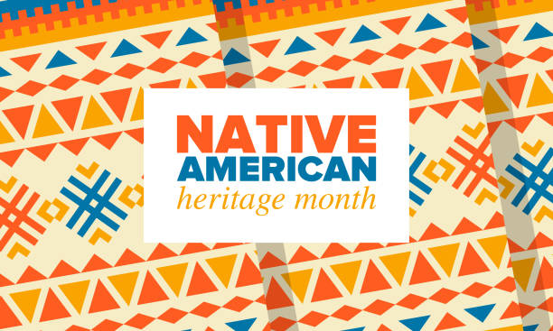 stockillustraties, clipart, cartoons en iconen met native american heritage maand in november. amerikaanse indiaanse cultuur. vier jaar in verenigde staten. traditie patroon. poster, kaart, banner en achtergrond. vector sieraad, illustratie - sociale geschiedenis