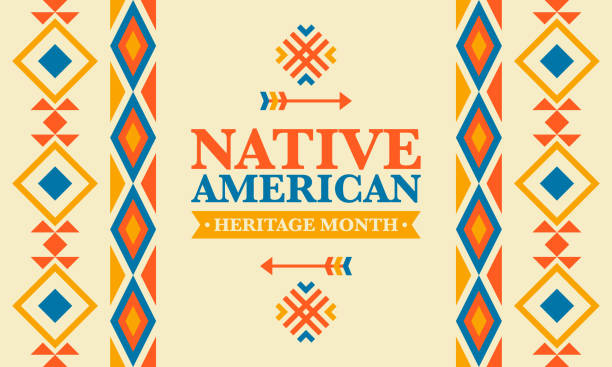 stockillustraties, clipart, cartoons en iconen met native american heritage maand in november. amerikaanse indiaanse cultuur. vier jaar in verenigde staten. traditie patroon. poster, kaart, banner en achtergrond. vector sieraad, illustratie - traditie