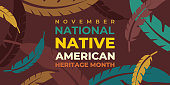 Native american heritage month. Vector banner, poster, card for social media with the text National native american heritage month. Background with a national ornament, a pattern of feathers