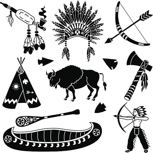Native American icons Vector icons with a Native American theme. teepee stock illustrations