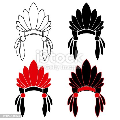 Native American Indian chief. Red and black roach. Indian feather headdress of eagle.